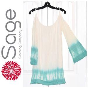 White Green Cold Shoulder Cotton Dress Size S